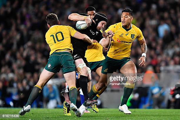 Matt Todd of the All Blacks charges forward during the Bledisloe Cup Rugby Championship match between the New Zealand All Blacks and the Australia...