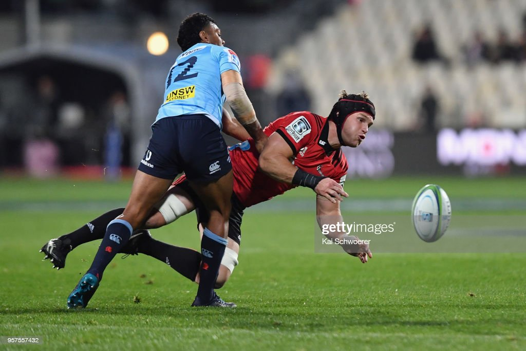 Matt Todd of the Crusaders is tackled during the round 12 Super Rugby match between the Crusaders and the Waratahs at AMI Stadium on May 12, 2018 in Christchurch, New Zealand.