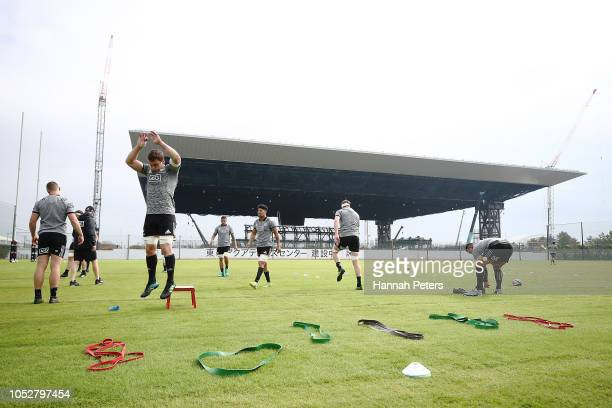 Matt Todd warms up during a New Zealand All Blacks training session on October 23 2018 in Tokyo Japan