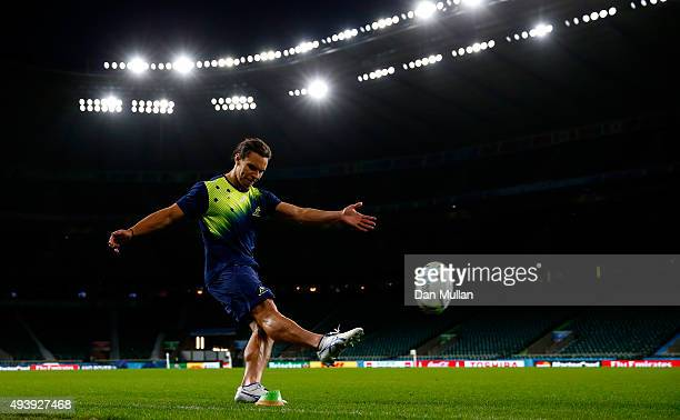 Matt Toomua of Australia takes a kick at goal during a kicking session at Twickenham Stadium on October 23 2015 in London United Kingdom
