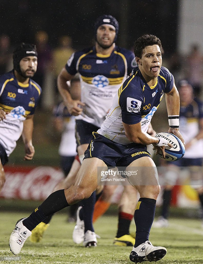 Matt Toomua of the Brumbies passes the ball during the Super Rugby trial match between the Brumbies and the ACT XV at Viking Park on February 8, 2013 in Canberra, Australia.