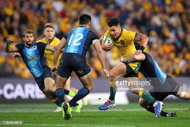 Matt To'omua of the Wallabies is tackled during the 2019 Rugby Championship Test Match between Australia and Argentina at Suncorp Stadium on July 27,...