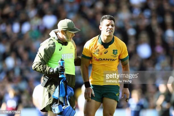 Matt Toomua of the Wallabies picks up an injury during the Bledisloe Cup match between the New Zealand All Blacks and the Australian Wallabies at...