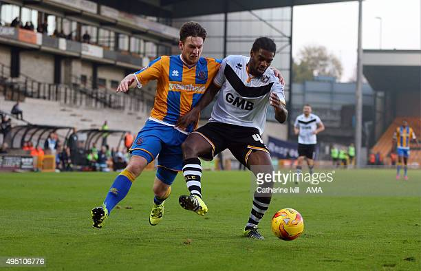 Matt Tootle of Shrewsbury Town and Anthony Grant of Port Vale during the Sky Bet League One match between Port Vale and Shrewsbury Town at Vale Park...