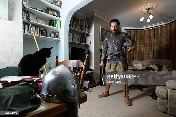 Matt Town of the st Centingas historic reenactment group poses for portraits in his home while wearing his replica Saxon armour on October 12 2016 in...
