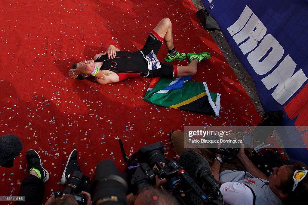 Matt Trautman of South Africa reacts after winning Ironman Wales on September 14, 2014 in Temby, Pembroke, Wales.
