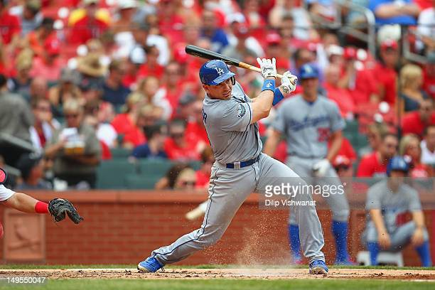 Matt Treanor of the Los Angeles Dodgers bats against the St Louis Cardinals at Busch Stadium on July 26 2012 in St Louis Missouri Photo by Dilip...
