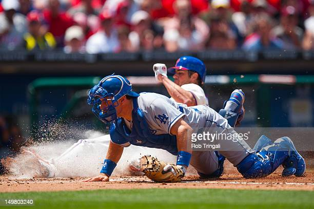 Matt Treanor of the Los Angeles Dodgers defends his position during the game against the Philadelphia Phillies at Citizens Bank Park on June 7 2012...