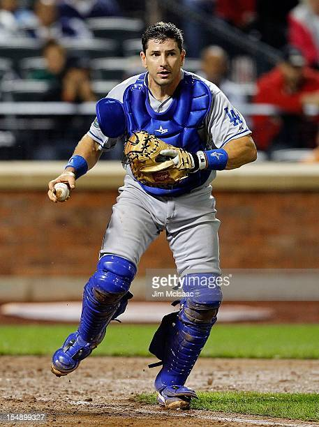 Matt Treanor of the Los Angeles Dodgers in action against the New York Mets at Citi Field on July 20 2012 in the Flushing neighborhood of the Queens...