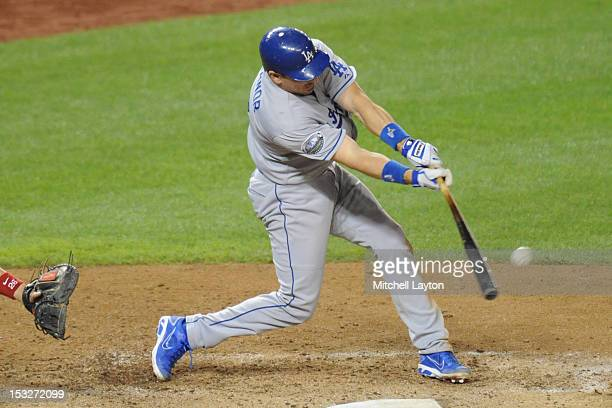 Matt Treanor of the Los Angeles Dodgers leads off second base during a baseball game against the Washington Nationals on September 19 2012 at...