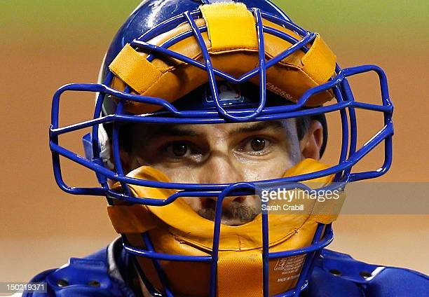 Matt Treanor of the Los Angeles Dodgers looks on during a game against the Miami Marlins at Marlins Park on August 12 2012 in Miami Florida