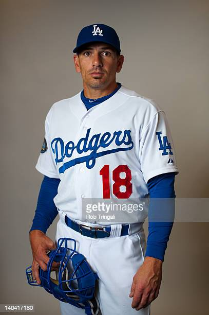 Matt Treanor of the Los Angeles Dodgers poses during photo day at the Glendale Sports Complex on March 2 2012 in Glendale Arizona