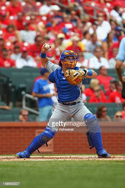 Matt Treanor of the Los Angeles Dodgers throws against the St Louis Cardinals at Busch Stadium on July 26 2012 in St Louis Missouri Photo by Dilip...