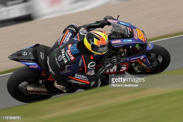 Matt Truelove in action during the Bennetts British Superbike Championship at Donington Park on May 26, 2019 in Castle Donington, England.