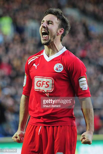 Matt Tubbs of Crawley Town celebrates after scoring during the FA Cup with Budweiser Fourth Round match between Hull City and Crawley Town at KC...