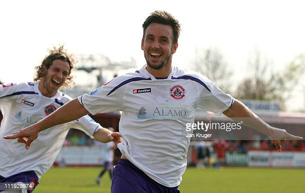 Matt Tubbs of Crawley Town celebrates his second goal during the Blue Square Bet Premier League match between Tamworth and Crawley Town at The Lamb...