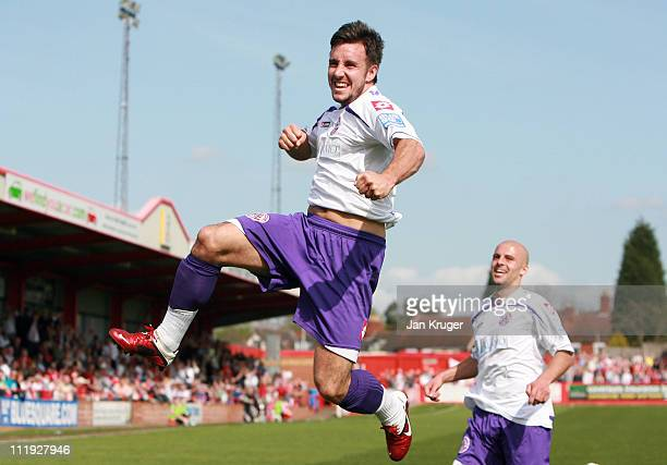 Matt Tubbs of Crawley Town celebrates the opening goal during the Blue Square Bet Premier League match between Tamworth and Crawley Town at The Lamb...