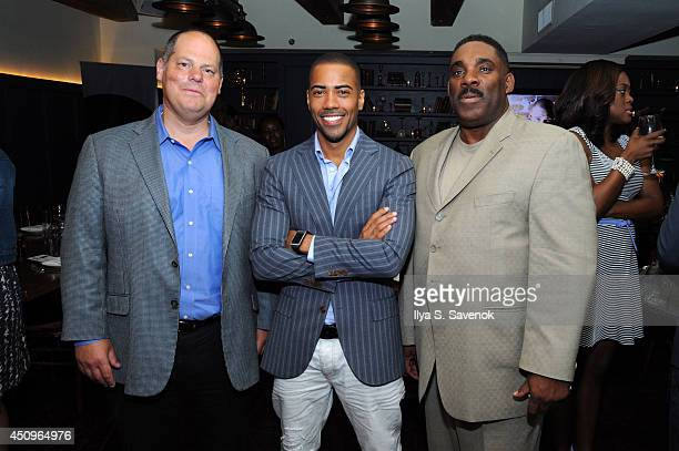 Matt Turner actor Brad James and Ty Johnson of UP attend the 2014 ABFF_ UP TV Aspire TV Dinner at Soho House on June 20 2014 in New York City