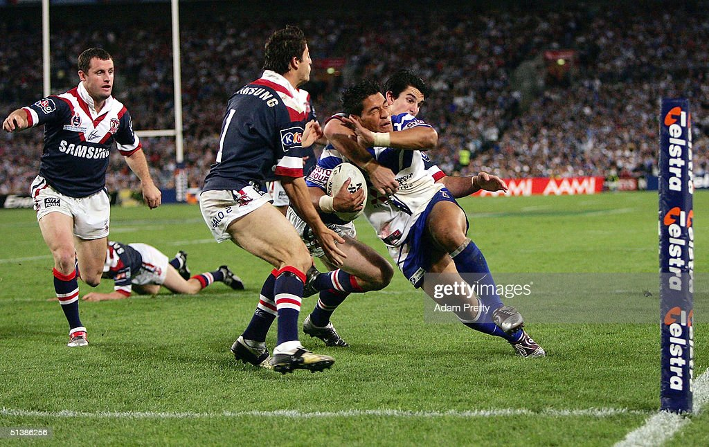 Matt Utai of the Bulldogs goes over for a try during the NRL Grand Final between the Sydney Roosters and the Bulldogs held at Telstra Stadium, October 3, 2004 in Sydney, Australia.