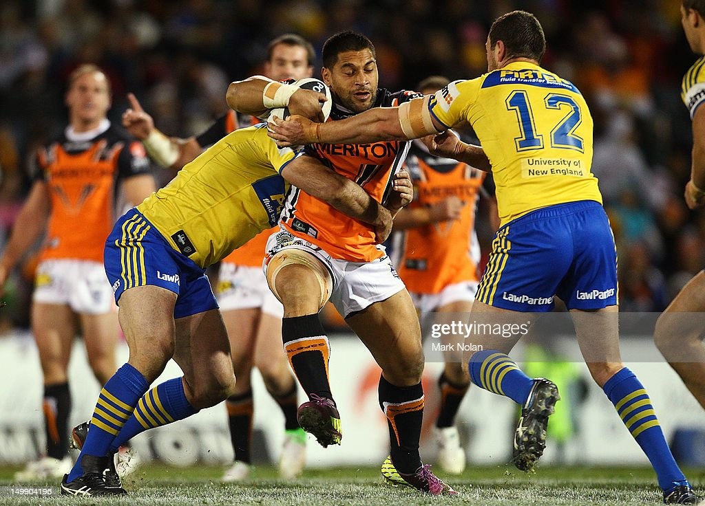 Matt Utai of the Tigers in action during the round 22 NRL match between the Wests Tigers and the Parramatta Eels at Campbelltown Sports Stadium on August 6, 2012 in Sydney, Australia.