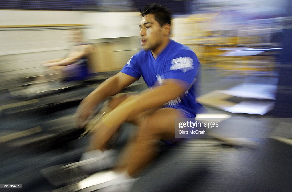 Matt Utai works out on a rowing machine during the Bulldogs weights session held at Belmore Sportsground July 5, 2005 in Sydney, Australia