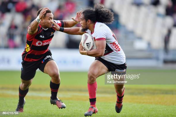 Matt Vaega of North Harbour charges forward during the Mitre 10 Cup Semi Final match between Canterbury and North Harbour at AMI Stadium on October...