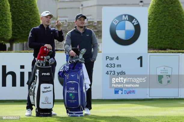 Matt Wallace and Eddie Pepperell of England chat on the first tee of the west course during the media day for the BMW PGA Championship at The...
