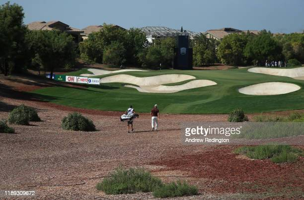Matt Wallace and his caddie walk down the 4th hole during Day Two of the DP World Tour Championship Dubai at Jumeirah Golf Estates on November 22,...