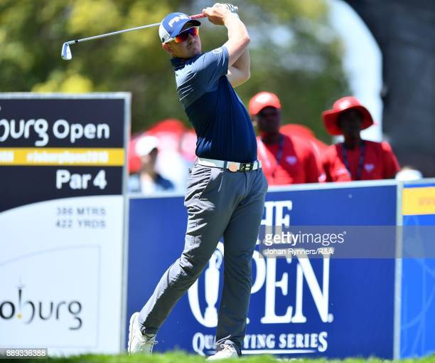 Matt Wallace England tees off on the first tee box during the forth round of the Joburg Open at Randpark Golf Club on December 10 2017 in...