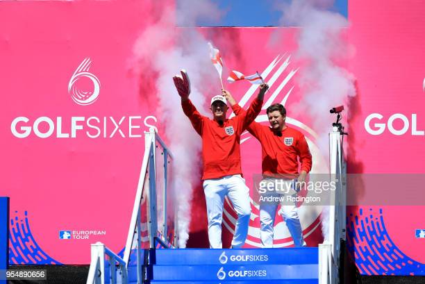 Matt Wallace of England and Eddie Pepperell of England walk out on Day One of the GolfSixes at The Centurion Club on May 5 2018 in St Albans England