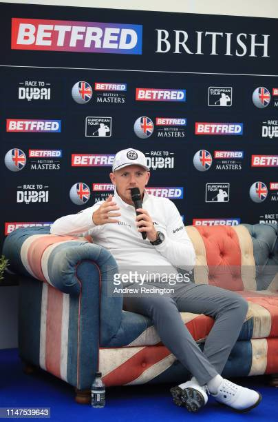 Matt Wallace of England attends a press conference prior to the start of the Betfred British Masters at Hillside Golf Cub on May 07 2019 in Southport...