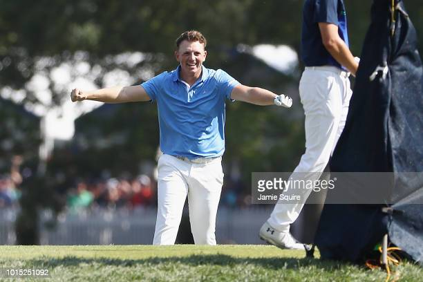 Matt Wallace of England celebrates after making a holeinone on the 16th hole during the third round of the 2018 PGA Championship at Bellerive Country...