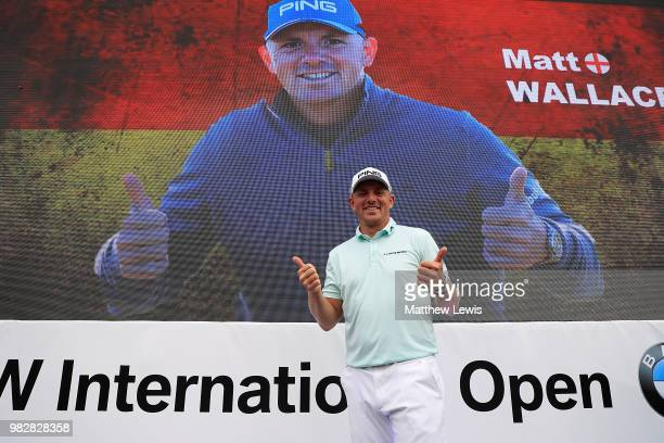 Matt Wallace of England celebrates after winning the BMW International Open at Golf Club Gut Larchenhof on June 24 2018 in Cologne Germany