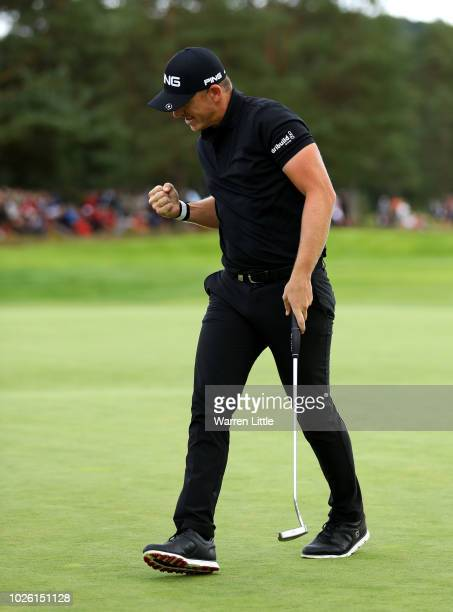 Matt Wallace of England celebrates as birdie on the 18th green during the final round on day four of the Made in Denmark played at the Silkeborg Ry...