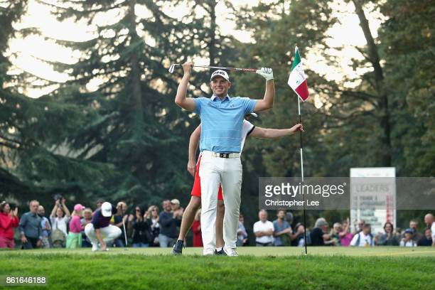 Matt Wallace of England celebrates his chip into the whole on the 17th during Day Four of the Italian Open at Golf Club Milano Parco Reale di Monza...
