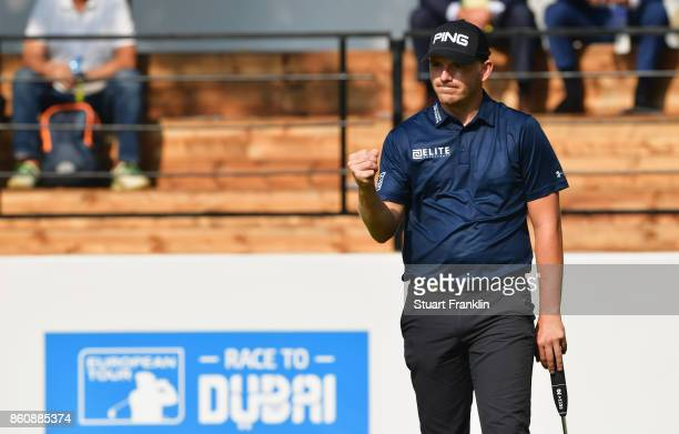 Matt Wallace of England celebrates on the 18th green during day two of the Italian Open at Golf Club Milano Parco Reale di Monza on October 13 2017...