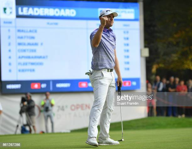 Matt Wallace of England celebrates on the 18th hole during the third round of the Italian Open at Golf Club Milano Parco Reale di Monza on October 14...