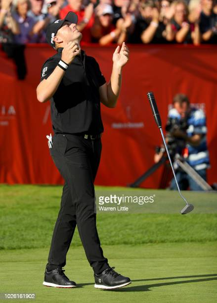 Matt Wallace of England celebrates victory in the playoff during the final round on day four of the Made in Denmark played at the Silkeborg Ry GC on...