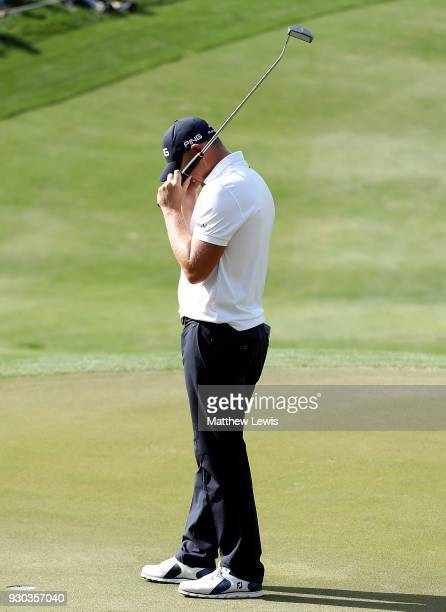 Matt Wallace of England celebrates winning the play off during day four of The Hero Indian Open at Dlf Golf and Country Club on March 11 2018 in New...