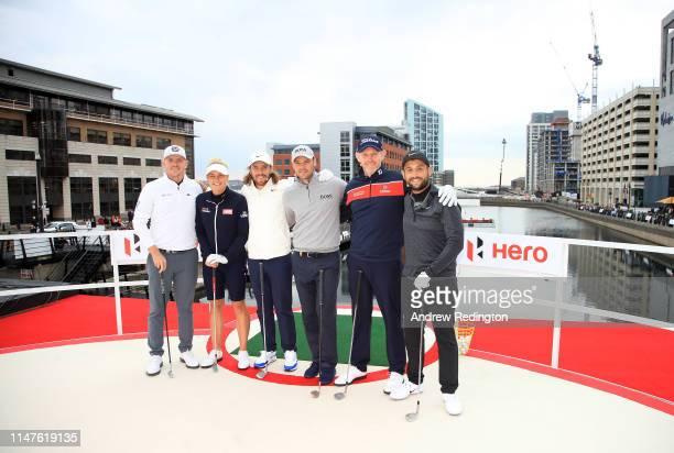 Matt Wallace of England, Charley Hull of England, Tommy Fleetwood of England, Martin Kaymer of Germany, Stephen Gallacher of Scotland and Alex Levy...