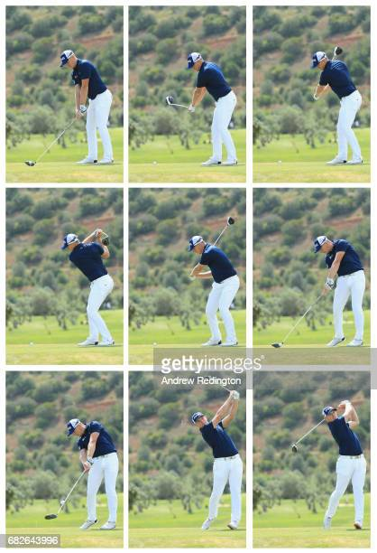 Matt Wallace of England driver swing sequence on the 9th hole during day three of the Open de Portugal at Morgado Golf Resort on May 13 2017 in...