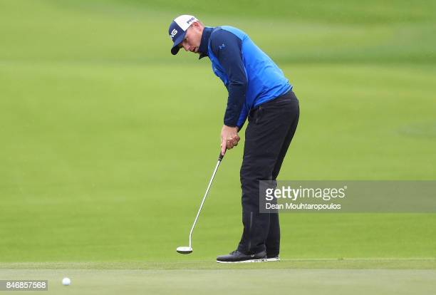 Matt Wallace of England hits a putt on the 9th hole during day one of the European Tour KLM Open held at The Dutch on September 14 2017 in Spijk...