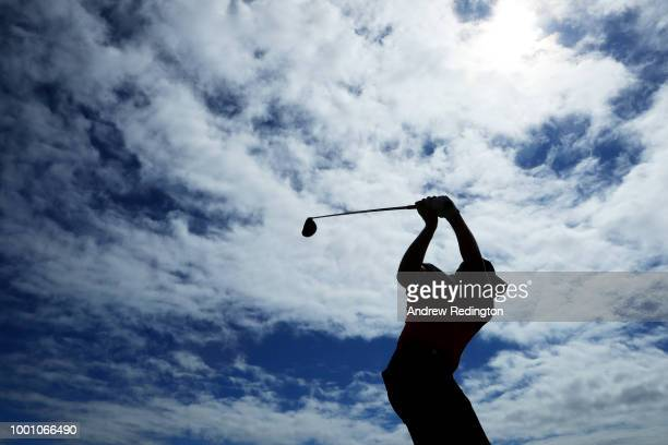 Matt Wallace of England hits a tee shot on the fifth hole during previews to the 147th Open Championship at Carnoustie Golf Club on July 18 2018 in...
