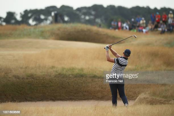 Matt Wallace of England hits an approach during the first round of the 147th Open Championship at Carnoustie Golf Club on July 19 2018 in Carnoustie...