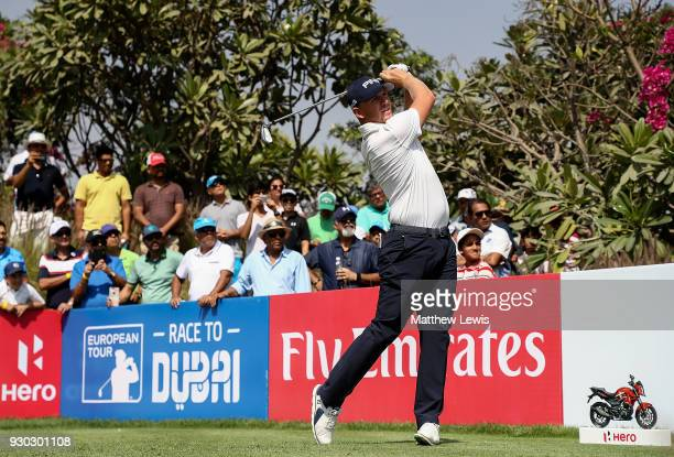 Matt Wallace of England hits his tee shot on the 16th hole during day four of The Hero Indian Open at Dlf Golf and Country Club on March 11 2018 in...