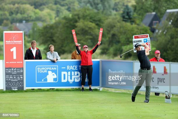 Matt Wallace of England hits his tee shot on the 1st hole during day two of Made in Denmark at Himmerland Golf Spa Resort on August 25 2017 in...