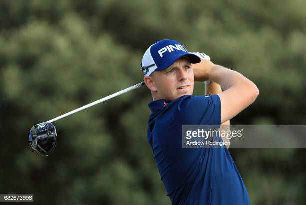 Matt Wallace of England hits his teeshot on the 18th hole on day three of the Open de Portugal at Morgado Golf Resort on May 13 2017 in Portimao...
