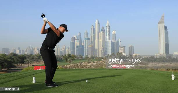 Matt Wallace of England hits his teeshot on the eighth hole during the completion of the second round of the Omega Dubai Desert Classic at Emirates...