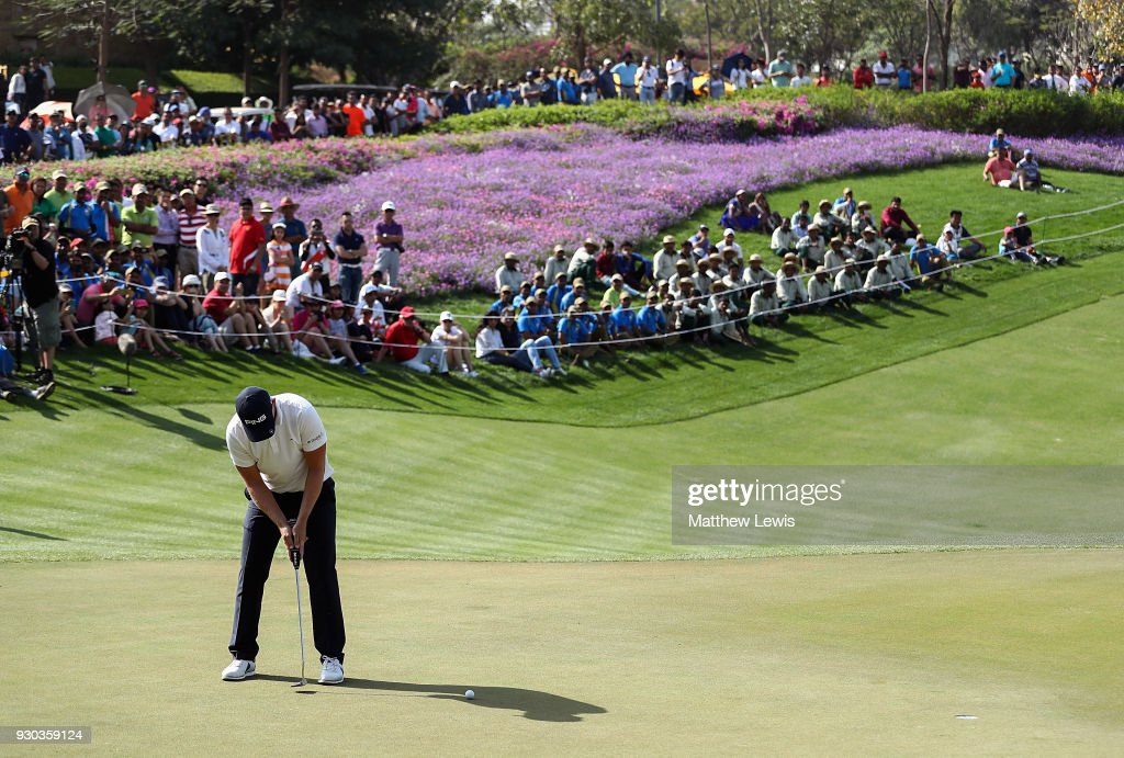 Matt Wallace of England hits the winning putt on the 18th hole during a play off against Andrew Johnson of England on day four of The Hero Indian Open at Dlf Golf and Country Club on March 11, 2018 in New Delhi, India.