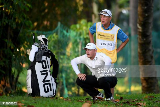 Matt Wallace of England in action during the first round of the Maybank Championship Malaysia at Saujana Golf and Country Club on February 1 2018 in...